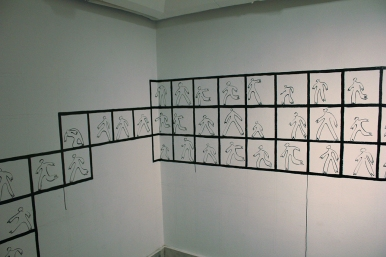 In-situ mural. India ink on walls. Al Jazira Art Center, Cairo, Egypt. 2012.