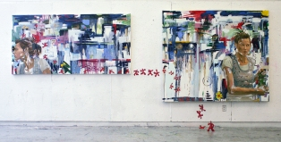 Oil on canvas and acrylic on walls, fired clay figurines. Left panel: 200 cm X 100 cm, right panel: 200 cm X 150 cm, 2008.