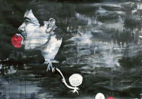 Acrylic, India ink, and charcoal on paper, 55 cm x 110 cm, 2007.
