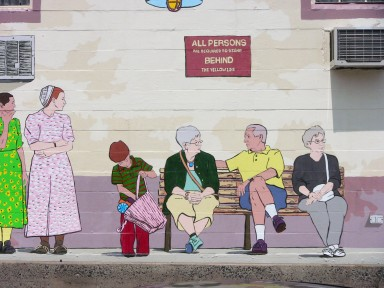 Waiting for the Reading and Columbia Train mural, 2009