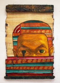 Oil on papyrus and carved wood, 64 cm X 90 cm, 2008.