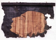 Oil on papyrus and carved wood, 64 cm X 50 cm, 2008.