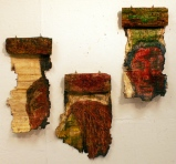Oil on papyrus and carved wood, 2008. Dimensions from left to right: 46 cm x 20 cm, 40 cm x 20 cm, 43 cm x 20 cm.