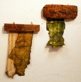 Oil on papyrus and carved wood, 2008. Dimensions from left to right: 35 cm x 20 cm, 30 cm x 20 cm.